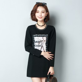 Korean fashion the new pattern slim women 's pattern printed thickening woolen t-shirt 8089