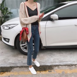 1149 loose contract color long sleeve sunscreen knitted jacket