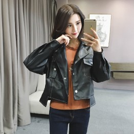 9946B slim handsome personality leather jacket