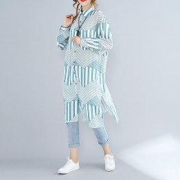 D928 large size personality stripes printed cardigan