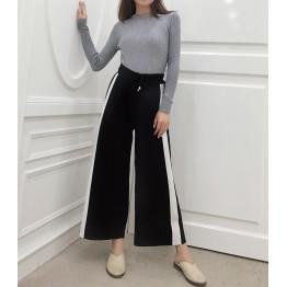 5559 elastic ice silk knitted wide leg pants
