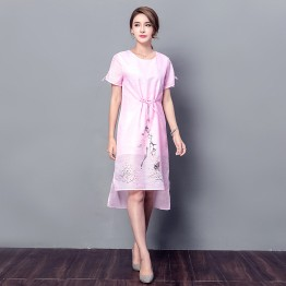 3518 silk-ramie short sleeve round neck drawstring print dress