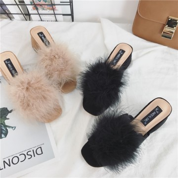 A777-8 ostrich hair fur ball slippers