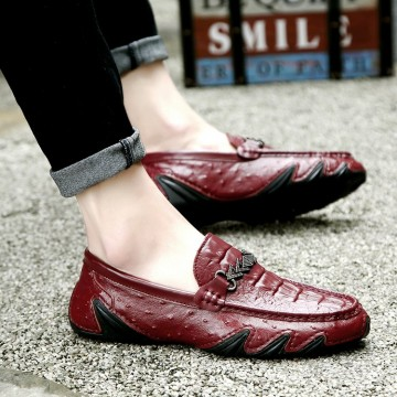 07585 crocodile pattern thick soft bottom leather men's shoes