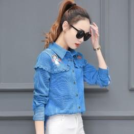 8585 Korean girl pineapple printed agaric corduroy shirt