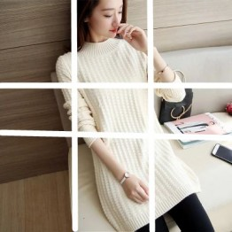 113 fashion solid color long sweater
