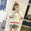 6017 college style round collar knitted sweater