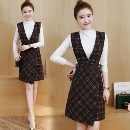 3803 women's temperament long sleeve shirt with plaid vest dress