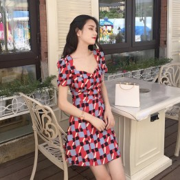 0157 Korea retro style printed casual slim dress