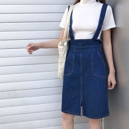 986 simple long elastic waist belt denim skirt