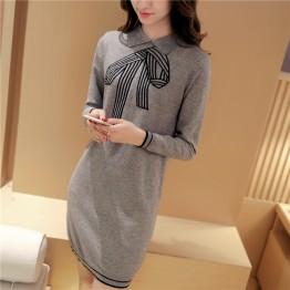 9966 woman collar bow tie collar long sweater