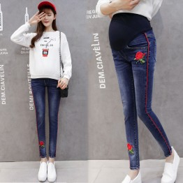 123 Rose embroidered pregnant women jeans