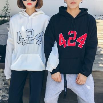523 Korea ulzzang number 424 embroidery couple sweatshirt