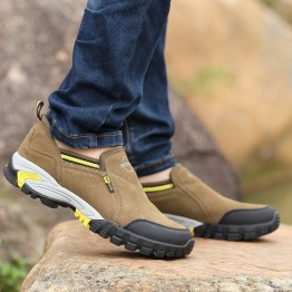 22898 thick bottom flat all leather men's mountaineering shoes