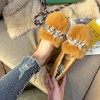 998-12 warm rabbit fur women's flat single shoes