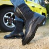 85575 frosted matte stitching thick round head tie men's boots