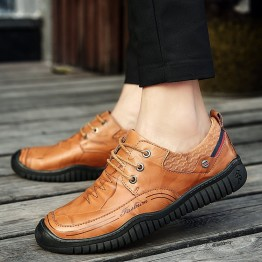 23980 leather belt wear-resistant thick soft bottom flat leathe men's shoes