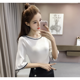 333 lotus sleeve contract color ice silk knitted shirt