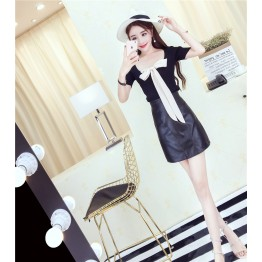 9155 fashion bowtie two sided wear t-shirt with washing PU skirt