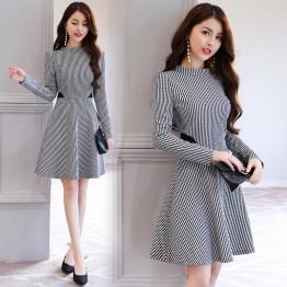 2619 high-collar slim printing dress