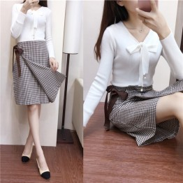 6621-1 bowtie knitted tops with lattice skirt