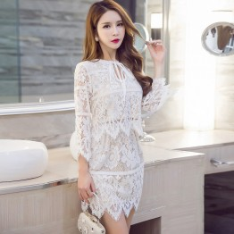6013 elegant aristocratic slim wave hem lace tops with skirt