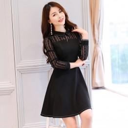 2618 lapel brocade cotton lace dress