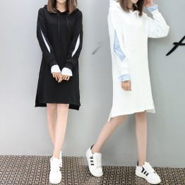 556 loose hooded fake two piece long sweatshirt
