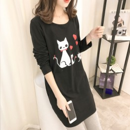 5218 loose round necklace print long sleeve long t-shirt