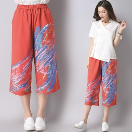 3560 culture retro national wind printing wide leg pants