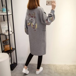 6008 embroidery loose knitting cardigan