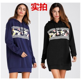 3227 Euramerica fashion printing fleece thick hooded warm sweatshirt dress