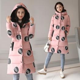 8923 Slim long cotton down coat