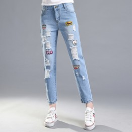 1713 autumn high waist embroidery holes jeans