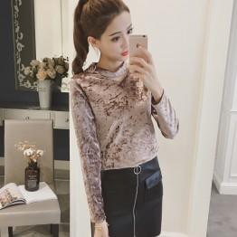 3055 temperament gold velvet fashion tops