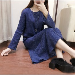 6622-1 elegant knitted sweater with skirt