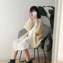1013 Korea pure color thick rod needle long sweater cardigan