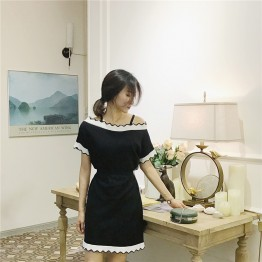 0156 Korean retro style wave off shoulder knit dress