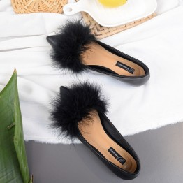 A1 ostrich fur pointed toe flattie