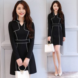 2623 autumn new V-neck slim package hip dress