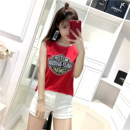 8810 cotton print sleeveless girl t-shirt