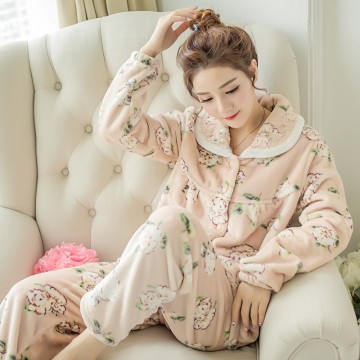 F8049 winter flannel thickening sweet floral pajamas