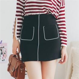 825 pockets white side deer leather high waist A-line skirt
