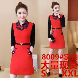 8009 autumn knitting sleeve lattice collar woolen dress