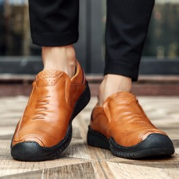 25580 thick flat bottom soft leather casual men's shoes