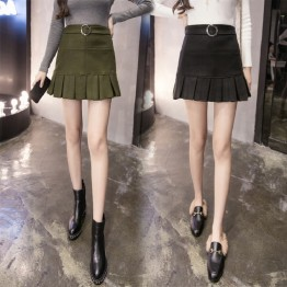 7186 fashion slim pleated wool skirt