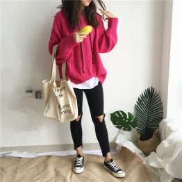 882 autumn and winter lazy syle drawstring hooded sweater