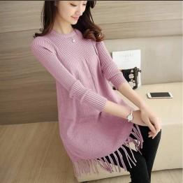 112 loose A-line tassel long sweater