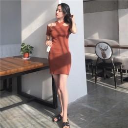0148 Korea retro wind cross hanging neck off shoulder slim knit dress