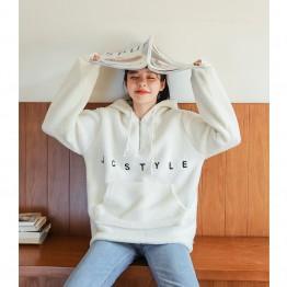 082 embroidered lamb wool hooded sweatshirt